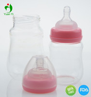 2017 high quality baby borosilicate small glass bottle for baby feeding products