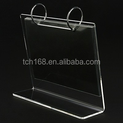office use table top clear acrylic calendar stand holder /transparent plactic desktop calendar holder