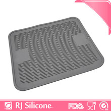 RJSILICONE collapsible dish rack with drainer mat bottle drying mat silicone sink drain mat
