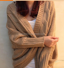 ladies women autumn winter chunky cable knit100% acrylic cardigan sweater