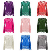 21 colors Plus Size 7XL Long Sleeve Chiffon Lace latest fashion blouse design