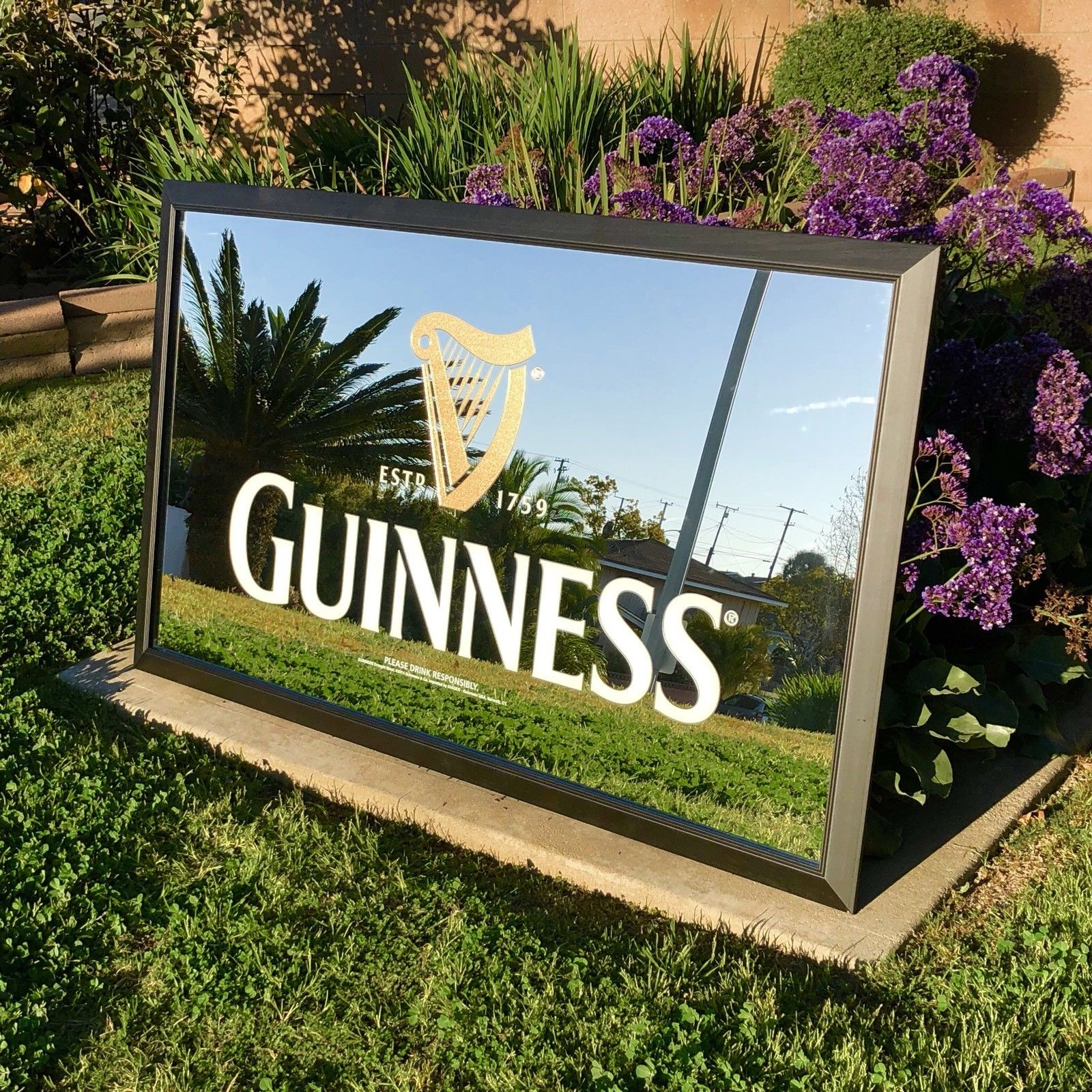 Gunness Bar Mirror Pub Huge Big Sign
