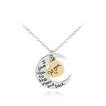 Hot selling 2018 amazon top Silver Moon Necklace European Style Pendant Necklace with heart For Sister Girls mom