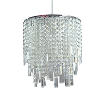 Beautiful design clear acrylic beads glass light metal pendant lamp shade