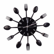 Cutlery Design Wall Clock /Metal Colorful Knife Fork Spoon Kitchen Clocks Creative Modern Home Decor