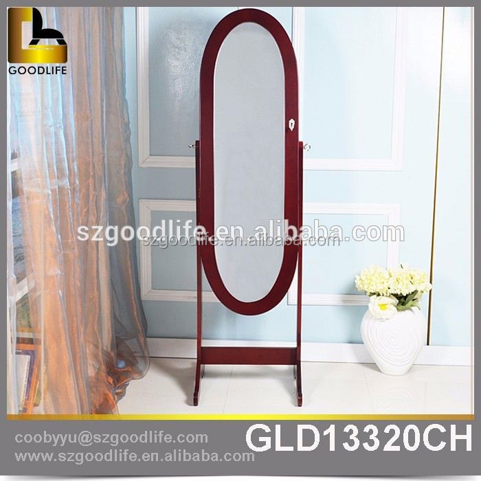 Hot selling high quality MDF mirror jewelry cabinet with wheels at Crazy Sales from China