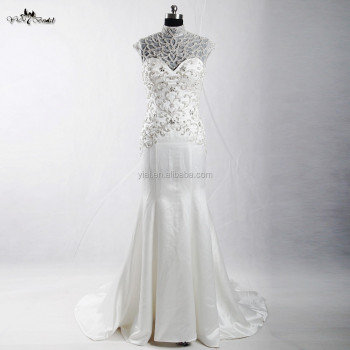 RSW907 Detachable Illustion Neckline Sexy Strapless See-Through Embroidery Designs For Mermaid Wedding Dress