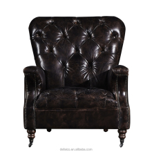 antique genuine leather American country style rustic furniture sofa