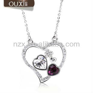 Heart to heart ladies necklace models made with Austria crystal 10106