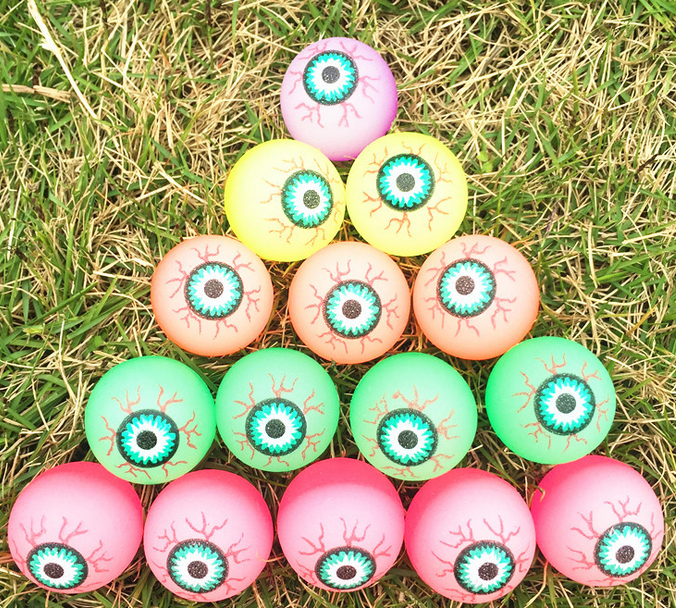 Bouncy ball glow in the dark mix solid rubber ball Eyes crystal bouncing ball with eyes printed