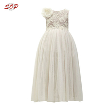 Children flower girls dress ball gown for kids white clothing flower girl net dresses