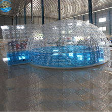 Outdoor Camping Event Tent, Large Inflatable Igloo Clear Tent China For Rental With LED Light