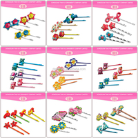 2016 hair accessories wholesale colorful flower kids resin pattern metal material lovely girl chinese hairpin