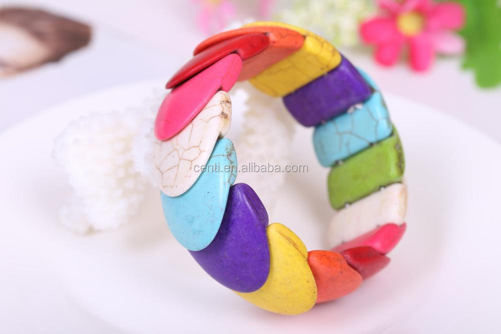 candy color geogetric turquoise stretch bangle Boho summer stone bangle