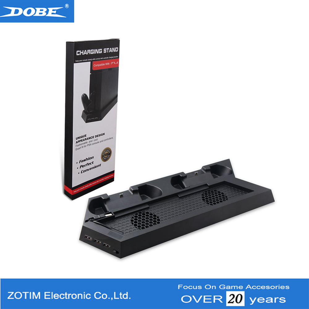 Dual Charging Stand With 2 Cooling Fan and 3 USB Hub For PS4 Console