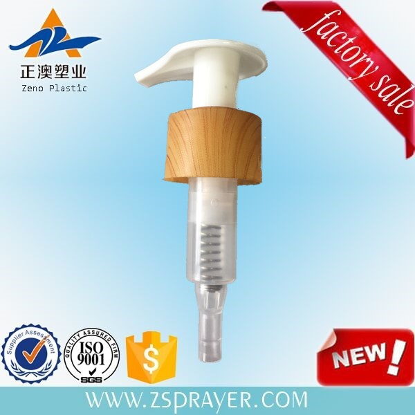 Attractive wood effect plastic bottle cap/wood effect lotion pump