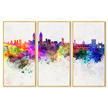 Colorful Modern Abstract Cityscape Printed Canvas Art Picture