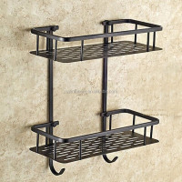 Luxury Double Tier Bathroom Shower Hook Caddy Powder Coated Wire Oil Rubbed Bronze Finished Organiser Storage Tidy Rack