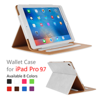 hot selling stand wallet leather smart cover case for iPad pro 9.7