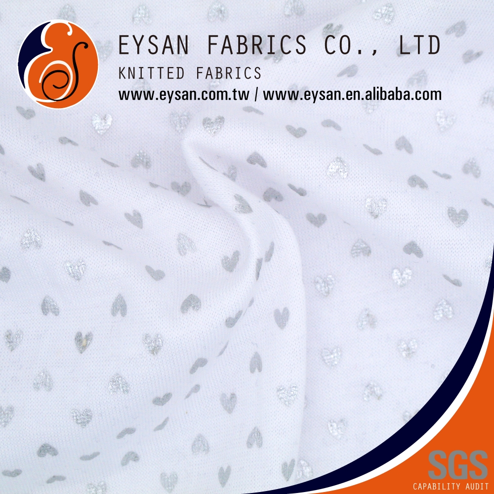 EYSAN Silver Heart Shapes Polyester Cotton Screen Print Fabric