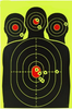 50 Pack - Reactive Splatter Targets - 30% MORE REACTIVE - Fluorescent Silhouette Targets for Shooting 12x18