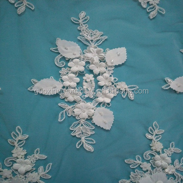 Latest appliqued embroidery lace fabric/Handmade ivory 3D flower lace for wedding dress 2016
