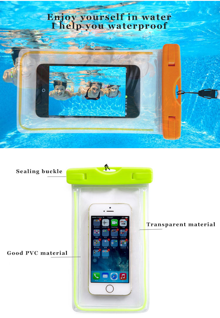 pvc mobile cell phone waterproof plastic polyester sports bag for phone (6)