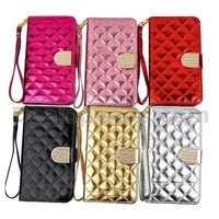 Grid Pattern Wallet Style Magnetic Flip Stand TPU+PU Leather Case for Samsung Galaxy Note 3 N9000