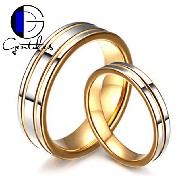 Gentdes Jewelry Tungsten Yellow Gold Wedding Band Couple <strong>Ring</strong> Promise <strong>Ring</strong> For Lover