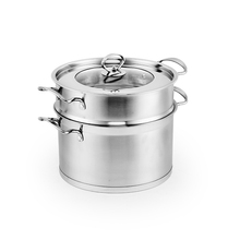 Stainless Steel Steamer dan Pot 2 Lapisan Makanan Steamer Pot