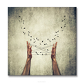 Human and Nature Hand Playing Rope Flying Swallow Art Photography Canvas Wall Art Fashion Inner Home and Office Gift