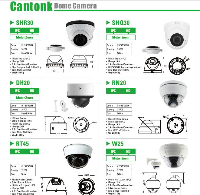 Big Dome Easy Installation Ip Camera System White POE With Hide Cable Functions