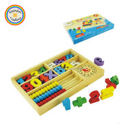 YHHM080 RDT Baby Kids Early Intelligence Wooden Clock Recognition Numbers Math Learn Abacus Box Teaching Aids Educational Toys