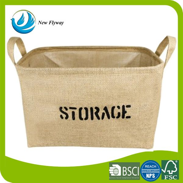 Classical living room jute stackable container indoor cloth storage box with handles
