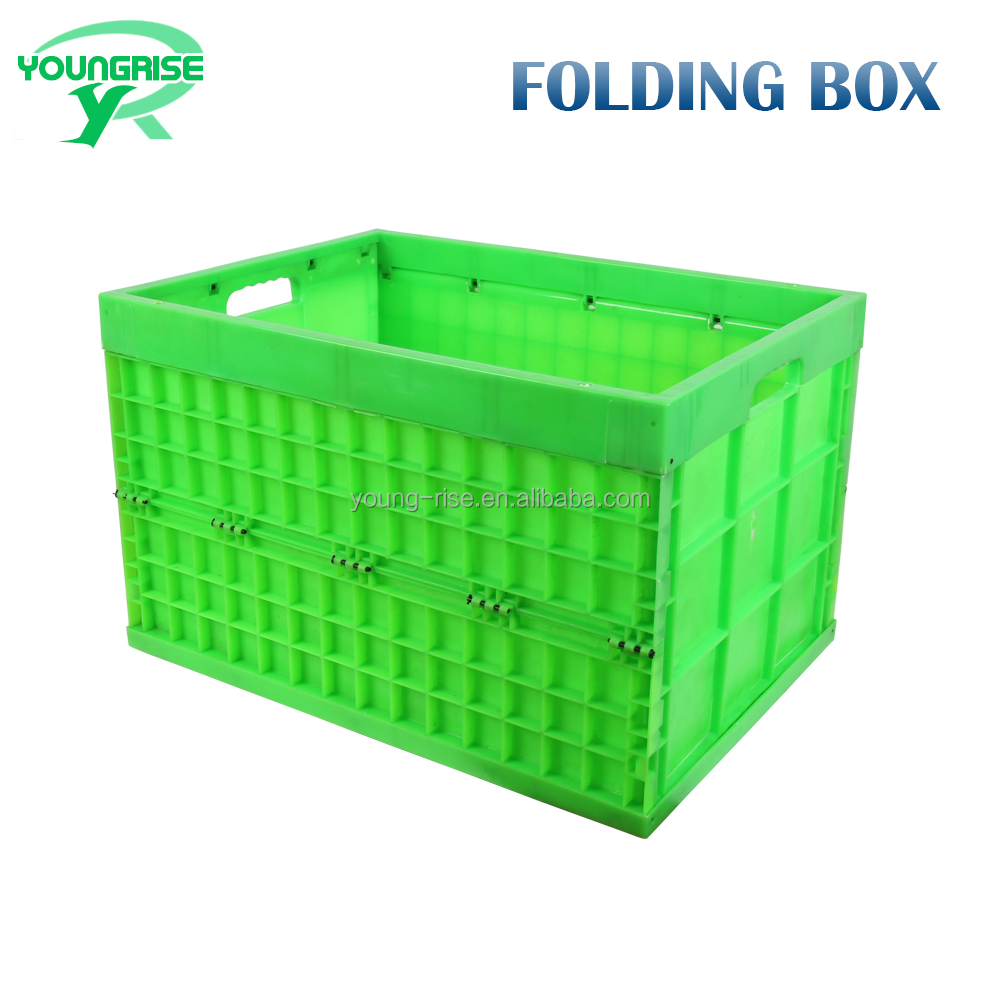 180L Large Folding Plastic Fruit Container Crate, Turnover Moving Boxes for Tool