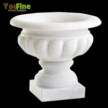 Outdoor Garden Garden White Marble Planter Pot For Sale