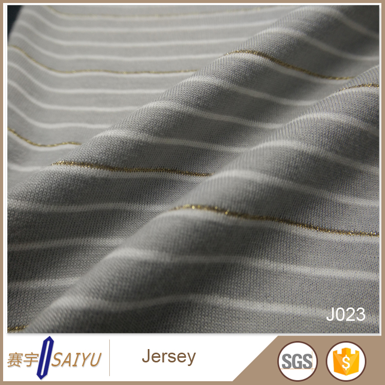 Cheap yarn dye stripe jersey polyester cotton knit fabric for garment