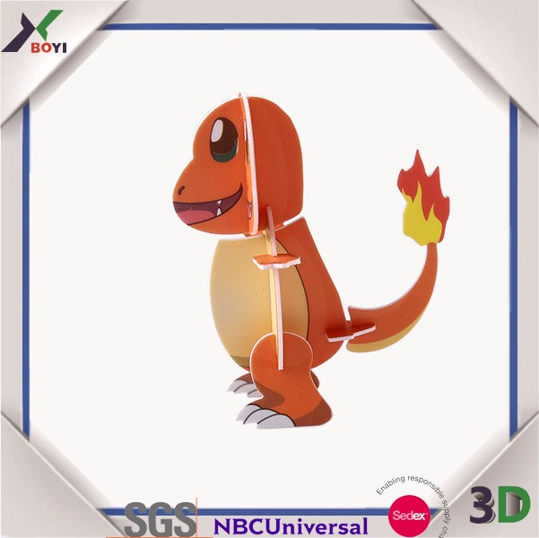 2017 hot sell puzzle pokemon 3d cartoon cute animal puzzle for kids