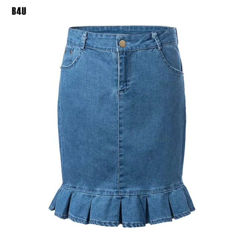 1d16fea5e60 Spring Summer 2015 New Fashion Blue Women Skirts Vintage Elastic Waist Denim  Skirt Jeans High Waist