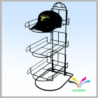 Powder Coated Black Metal Wire hat display rack for retail store