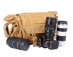 Shockproof Canvas Camera Bag Photography Protection Messenger Shoulder Carrying Bag for Sony Canon Nikon with Inner Bag