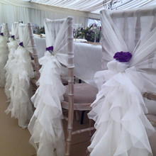 wholesale Nice cheap organza TAFFETA wedding ruffled curly willow champange chair sash