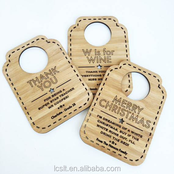wholesale custom wooden wine bottle neck hang tag
