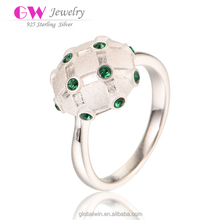 Matt Gold Processing Silver Ring Green Diamond Round Ring Fashion Ring