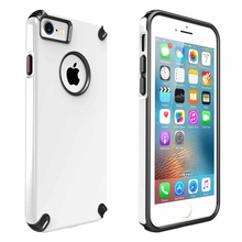 In Stock Ultra Slim Hybrid Shockproof Rubberized PC Case Cover Black TPE Bumper for iPhone 7 Plus