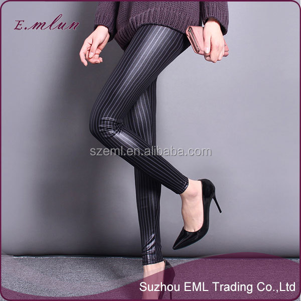 Spring new imitation leather leggings black stripe leather pants