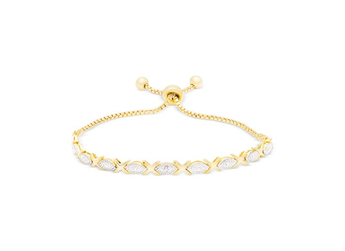 2017 Women's Plated yellow gold Adjustable Slider Tennis Bracelet with Diamond