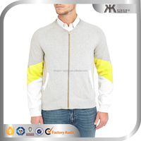 Custom clothing manufacturers wholesale sweatshirts for man, grey yellow barbes zipped cardigan