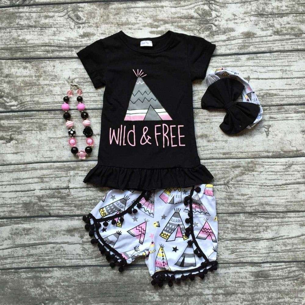 baby girls wild and free clothing summer girls boutique clothing black top with tent shorts seersucker shorts with accessories