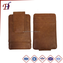 High quality pu leather Card Clip 4 Card Holder Customized Embossed Label
